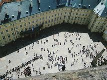 Prague Castle, third courtyard. View from the tower of St. Vitus Cathedral Stock Images