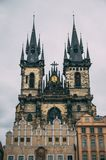 Prague Castle towers on rainy day Stock Photography