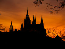 Prague Castle towers silhouette at sunset time Royalty Free Stock Photo