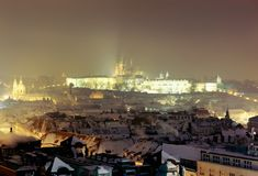 Prague Castle at twilight Royalty Free Stock Image
