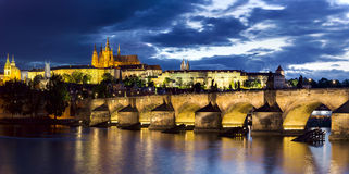 Prague Castle at twilight panorama Stock Photos