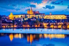 Prague Castle in twilight Stock Image