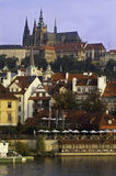 Prague castle view. A distant view of the castle and prague from the famous bridge Stock Photo
