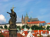 Prague Castle: View from Charles Bridge Stock Image