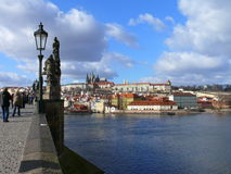 The Prague Castle. View to the Prague Castle from Charles Bridge, Moldau river Stock Images