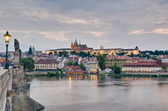 Prague Castle and Vltava River Stock Photos