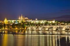 Prague Castle and Vltava River Stock Photography