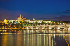 Prague Castle and Vltava River Royalty Free Stock Photo