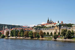 Prague castle and the Vltava river Royalty Free Stock Photography