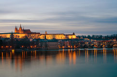 Prague castle,Vltava river at dusk,Bohemia Royalty Free Stock Photos