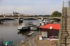 Prague Castle and the Vltava River, historic buildings, Prague, Czech Republic Royalty Free Stock Image