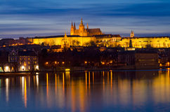 Prague Castle and Vltava river Night Panorama Stock Images