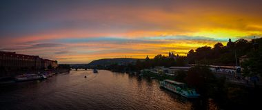 Prague castle at sunset czech republic. Prague castle and vltava river at sunset czech republic Stock Images