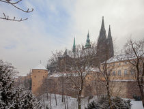 Prague Castle in Winter coat. Royalty Free Stock Photography