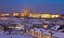 Prague Castle at winter time Stock Images