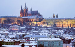 Prague Castle at winter time Stock Photo
