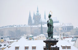 Prague Castle in Winter, View from Charles Bridge Stock Photo