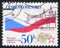 Prague Castles. CZECHOSLOVAKIA - CIRCA 1984: stamp printed by Czechoslovakia, shows Bratislava, Prague Castles, circa 1984 stock photography