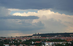 Prague casttle in Czech republic. A view at Prague Casttle from far away in Prague, Czech republic Stock Photo