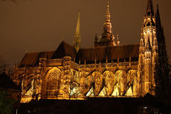 Prague Cathedral. At cloudy night Royalty Free Stock Images