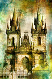 Prague' cathedral. Artwork in painting style Royalty Free Stock Images