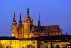 Prague cathedral night Stock Image