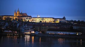 Prague cathedral after sunset in autumn stock footage