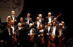 Prague Chamber Orchestra. MANAMA, BAHRAIN - OCTOBER 24:  Prague Chamber Orchestra, the only Orchestra to play without a conductor   performs on October 24, 2013 Stock Image