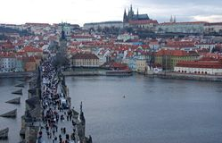 Prague Charles Bridge. Prague's famous landmark, Charles bridge taken from one of the bridges tower Royalty Free Stock Image