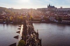 Prague, Charles Bridge from above, Prague Castle. Stock Images