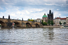 Prague, Charles Bridge accross Vltava river Royalty Free Stock Images