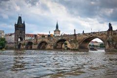 Prague, Charles Bridge accross Vltava river Stock Photo