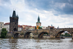 Prague, Charles Bridge accross Vltava river Royalty Free Stock Photo