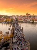 Prague Czech Republic panorama view of Charles Bridge Praha old town Vltava river sightseeing street to castle people tourists Stock Photography