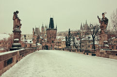 Prague, Charles bridge and castle Stock Photo