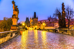 Prague, Charles Bridge, the Castle and St. Vitus Cathedral. Royalty Free Stock Photo