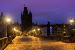 Prague Charles bridge at dawn. Charles Bridge and Prague Castle in Prague (Czech Republic) at night lighting Royalty Free Stock Photography