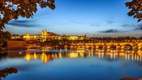 Prague, Charles bridge in evening lights Stock Photos