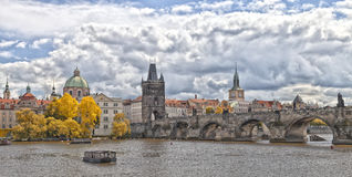Prague Charles bridge in fall Stock Photos