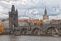 Prague Charles bridge in fall Stock Image
