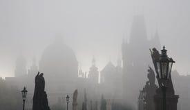 Prague - charles bridge in fog Stock Images