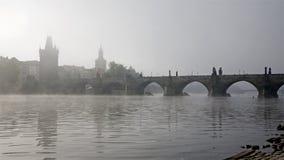 Prague - Charles bridge in the  fog Royalty Free Stock Image