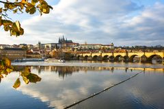 Prague with Charles Bridge and the Hradcany castle stock photos