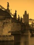 Prague - Charles bridge in the morning Royalty Free Stock Images