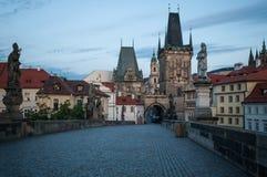 Prague, Charles Bridge, morning, dawn. royalty free stock photography