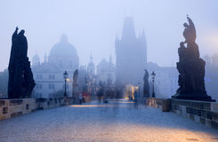 Prague - Charles bridge in the morning fog Royalty Free Stock Photo