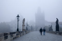 Prague - Charles bridge in the morning fog Royalty Free Stock Image