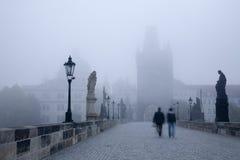 Prague - Charles bridge in the morning fog Royalty Free Stock Image