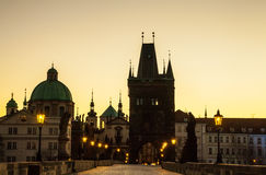 Prague Charles bridge in the morning Stock Image