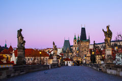 Prague Charles bridge in the morning Royalty Free Stock Photography